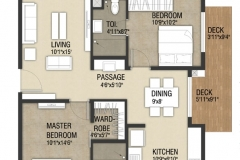 2 Bhk-1279-sftTower-A-West-Unit- No.2- AC Block